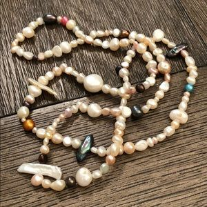 """Mixed Shapes & Color Fresh Water Pearls 35"""" Strand"""